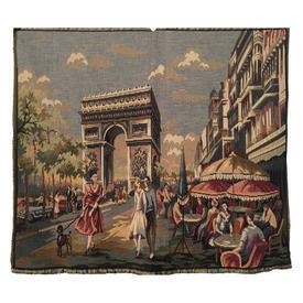 "Wall Hanging 2'4"" x 2'8"" Airforce / Grey L'Arc De Triomphe Tapestry"