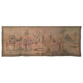 "Wall Hanging 1'7"" x 4'4"" Beige Moorish Scene Faded Tapestry"