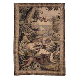 """Wall Hanging 6'4"""" x 4' Khaki Vicious-looking Hunting Dogs Berlin Tapestry"""
