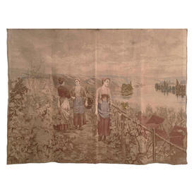 """Wall Hanging 6'11"""" x 4' Tan Villagers on Mountain Path by Lake Faded Tapestry"""