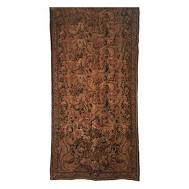 "Wall Hanging 9'6"" x 3'11"" Gold Large Floral Urn Heavy Tapestry / Braid"