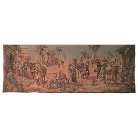 "Wall Hanging 1'7"" x 4'7"" Sand / Bottle Desert Marketplace Tapestry"