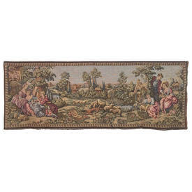 """Wall Hanging 1'8"""" x 4'8"""" Olive Couples in Countryside Tapestry / Bordered"""