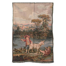 """Wall Hanging 2'4"""" x 1'7"""" Olive / Airforce Children & Goat by River Tapestry"""