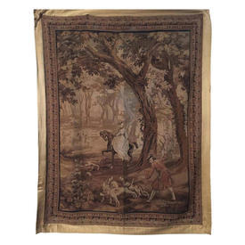 """Wall Hanging 7'2"""" x 5'4"""" Brown Horsewoman & Hunt in Forest Tapestry"""