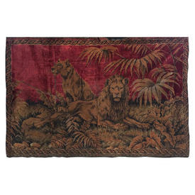 """Wall Hanging 4' x 5'11"""" Burgundy Lion & Lioness Embossed Silky Plush"""