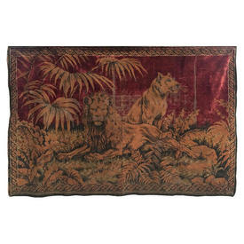 Wall Hanging 4' x 6' Burgundy Lion & Lioness Embossed Silky Plush