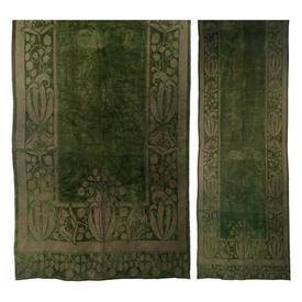 "Wall Hanging 10'8"" x 3'11"" Khaki Leaf Border Print Faded Velvet"