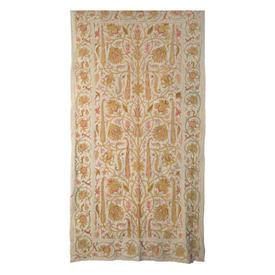 "Wall Hanging 7'11"" x 4'11"" Cream / Lemon Floral Wool Crewel on Linen"