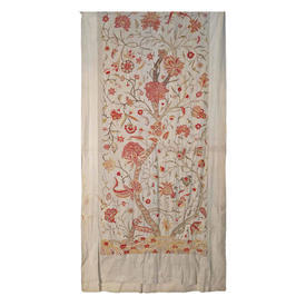 "Wall Hanging 8'11"" x 4'3"" Cream / Raspberry Tree of Life Wool Crewel on Linen"