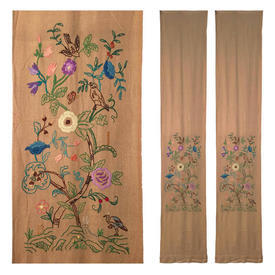 "Pair Wall Hangings 9'3"" x 1'8"" Tan Birds on Branches Silk Crewel on Coarse Linen"