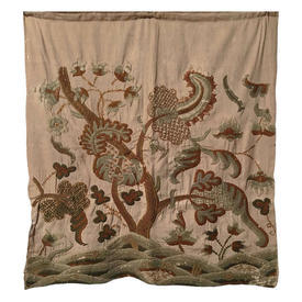 "Wall Hanging 9'3"" x 1'8"" Tan / Olive Indian Tree of Life Wool Crewel on Linen 17thC"
