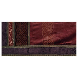 "Throne Pelmet 1'11"" x 16'3"" Chestnut Silky Velvet / Geo Stencil / Purple Floral Cut Velvet Border / Metallic Braid"