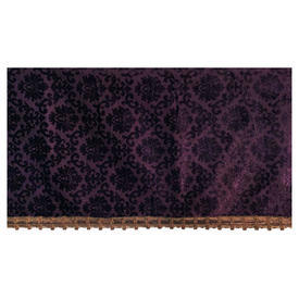 "Throne Pelmet 1'6"" x 17'10"" Purple Small Geo Cut Velvet / Metallic Braid"