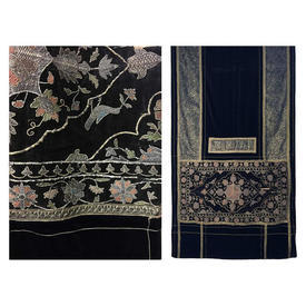 "Wall Hanging 16' x 5'3"" Black Velvet / Metal Thread Indian Emb/Lurex Velvet"