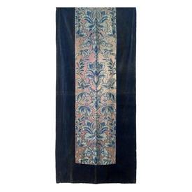 "Wall Hanging 7'6"" x 3'4"" Royal Floral Damask Panel / Faded Velvet Border"