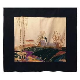 "Wall Hanging 3'2"" x 3'6"" Bottle Landscape Long-Stitch Silk Emb on Silk on Cream Silk / Black Border"