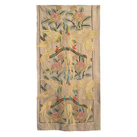 """Wall Hanging 4'2"""" x 2' Lemon Cockatoos in Branches Heavy Silk Floss Emb on Linen"""