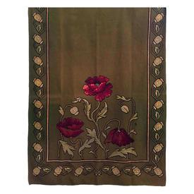 """Wall Hanging 5'5"""" x 4'2"""" Khaki Faded Wool / Wine Geo Flowers Silk Floss Emb"""