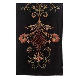"Wall Hanging 6' x 3'11"" Black Velvet / Pink & Green Trellis Scroll Silk Emb"