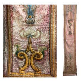 "Pair Wall Hangings 6' x 1'1"" Apricot Shredded Silk / Gold Scroll Emb Silk Applique"