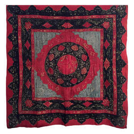 """Wall Hanging 5'1"""" x 4'10"""" Black / Red Ethnic Applique Wool"""