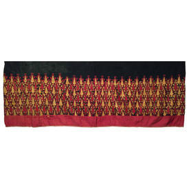 """Wall Hanging 2'11"""" x 12'4"""" Red Geo Leaf Silk Floss Emb on Linen"""