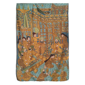 "Wall Hanging 3'11"" x 2'7"" Turquoise / Mustard Indian Feast Silk on Silk Emb"