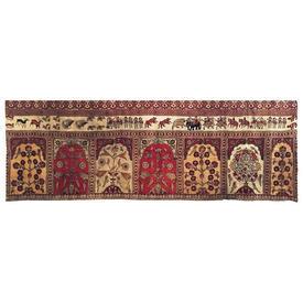 "Wall Hanging 3'3"" x 9'4"" Maroon / Ecru Flower Tiles Indian Print Linen"