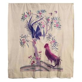 "Wall Hanging 5'2"" x 4'6"" Mauve Chinese Cockerel & Bird in Tree Floss Emb on Silk"