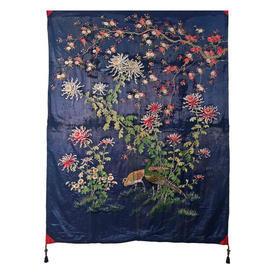 "Wall Hanging 7'9"" x 5'9"" Royal Chinese Pheasants & Foliage Floss Emb on Shredded Silk"