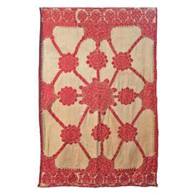 "Wall Hanging 6'4"" x 4' Cream Linen / Pale Red Floral Lattice Heavy Silk Floss Hand Emb."