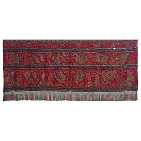 "Wall Hanging 3'7"" x 8'4"" Red Oriental Koi & Butterflies Metal Thread & Mirrors Emb on Silk / Braid / Fringe"