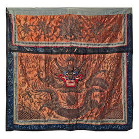 "Wall Hanging 2'11"" x 3'3"" Orange Chinese Dragon Bullion & Copper Heavy Emb on Silk"