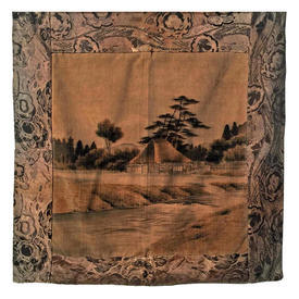 "Panel 2'5"" x 2'5"" Tan / Charcoal Japanese House & River Printed Velvet / Floral Woven Silk Border"