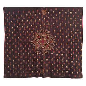 "Wall Hanging 5'10"" x 6' Brown Flower Motif Indian Silk & Mirror Emb on Linen"