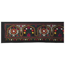 """Wall Hanging 1'10"""" x 12'10"""" Black / Multi Flower Arches Indian Floss Emb on Cotton"""