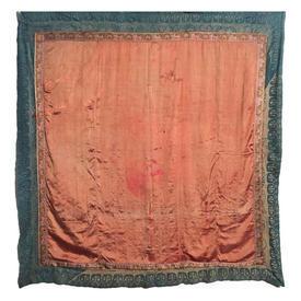 "Wall Hanging 8'9"" x 5'6"" Salmon Worn Silk / Floral Emb Border"