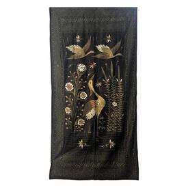 "Wall Hanging 7'5"" x 3'8"" Black Japanese Cranes Painted Silk"