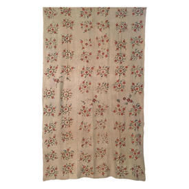 "Wall Hanging 7'4"" x 4'2"" Beige Worn Circ Floral Emb on Linen"
