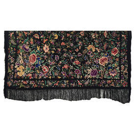 "Wall Hanging 2'3"" x 4'10"" Black / Multi Chinese All-Over Floral Emb Silk / Fringe"