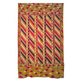"""Wall Hanging 8' x 4'8"""" Orange / Magenta Phulkari Geo Silk Floss Emb"""