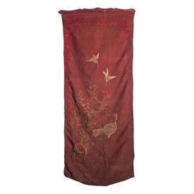 "Wall Hanging 4'9"" x 2' Rust Chinese Bird Metal Emb Shredded Silk on Wood Baton"