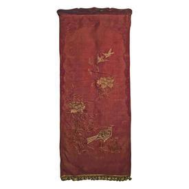 "Wall Hanging 4'8"" x 1'11"" Rust Chinese Bird Metal Emb Shredded Silk on Wood Baton"