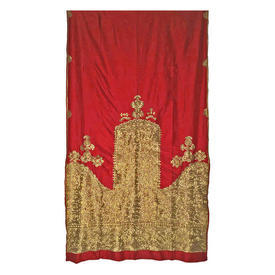 "Wall Hanging 8'7"" x 4'10"" Scarlet Silk / Bright Gold Heavy Silk Floss Emb"
