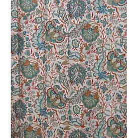 Pair Drapes 7' x 6' Turquoise Warners Kandesh Crewel Print Linen