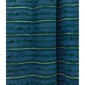 Pair Drapes 7' x 6' Cerulean Heal's Lamina Horiz. Stripe Print
