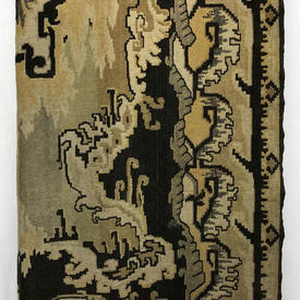 """Table Cover 8'10"""" x 4'8"""" Sand / Charcoal Abstract Print Velvet"""