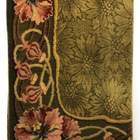 """Table Cover 7'3"""" x 6' Olive Large Floral & Scroll Moquette"""