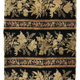 "Table Cover 5'9"" x 3'6"" Black Lilies & Foliage Print Velvet / Fringe"